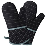 Homever Thicken Cotton Oven Mitts, Heat Resistant to 500°F, Recycled Cotton Infill, Flexibility Non-Slip Kitchen Oven Gloves for Baking and Kitchen, 1 Pair (Black)
