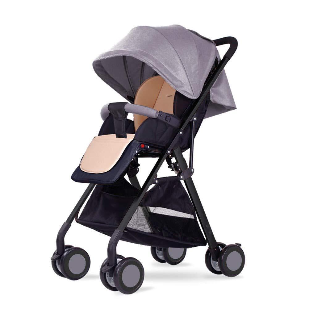 GWM 赤ちゃんのベビーカー、軽量、座って、平面の折り畳み式ショックアブソーバ高地のベビーカーのトロリーに横たわることができます (色 : Gray)  Gray B07NQHJRBZ