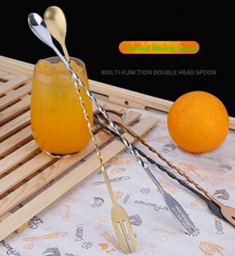 Edelstahl Cocktail Stößel, gedrehter Rührlöffel mit Gabel, Doppel-Messbecher, Bar-Werkzeug Essentials Professionelles Bar-Werkzeug-Set gold