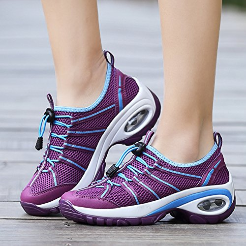 Women Slip Enllerviid Bottom with Running Shoes Thick A17803 Walking Fitness Platform On Purple Jogging dTqxrnq5w