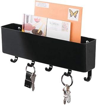 Wall Mount Hook Hanger Mail Letter Key Holder Organizer Rack Storage Black