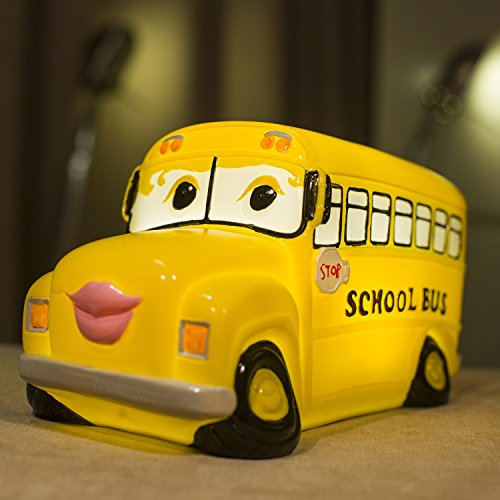 Amazlab LED Table Lamp for Living Room Decoration, Yellow Cartoon Cute School Bus Shaped Night Lamp for Kids Bedroom, USB Port or Battery Operated, 4 Hour Timer