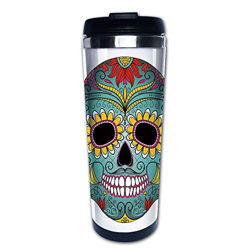 (Stainless Steel Insulated Coffee Travel Mug,Elements Featured Skull Day of the Dead Celebration,Spill Proof Flip Lid Insulated Coffee cup Keeps Hot or Cold 13.6oz(400 ml) Customizable)