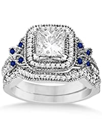 Blue Sapphire Square Halo Butterfly Bridal Set Palladium 0.51ct (No center stone included)