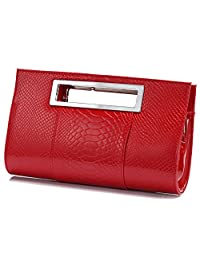 Ilishop Women's Classic Crocodile Pattern Faux Leather Metal Grip Clutch