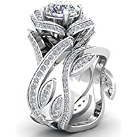 phitak shop Women 925 Silver Lotus Flower White Topaz Ring Set Wedding Engagement Jewelry (7)
