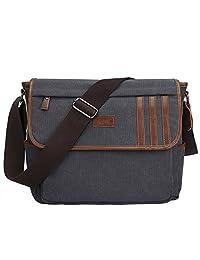 "S-ZONE Retro Lightweight Canvas Messenger Bag Travel Shoulder Bag 14.1""(L)11""(H)4.7""(W) Dark Gray"