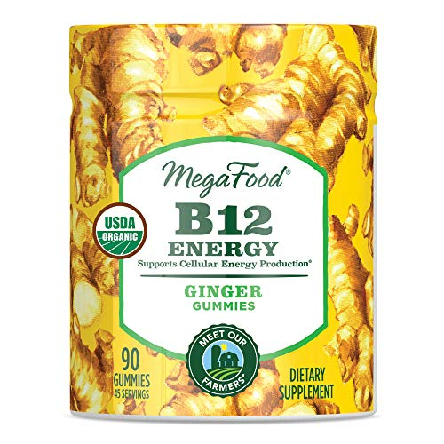 - MegaFood - B12 Energy Gummies, Supports Energy Levels with Methylated Vitamin B12 and Organic Ginger, Vegan, Gluten-Free, Non-GMO, Ginger, 90 Gummies