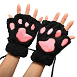 Arshiner Women Bear Plush Cat Paw Claw Glove Soft Winter Gloves (Black-1)
