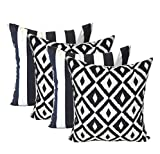 Set of 4 - Indoor / Outdoor Square Decorative Throw / Toss Pillows - Black and White Stripe Fabric & Black and White Aztec Geometric Fabric - Choose Size (20'' x 20'')