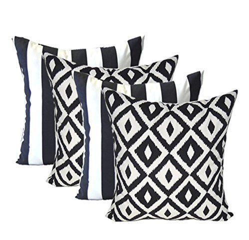 Set of 4 – Indoor Outdoor Square Decorative Throw Toss Pillows – Black and White Stripe Fabric Black and White Aztec Geometric Fabric – Choose Size 20 x 20