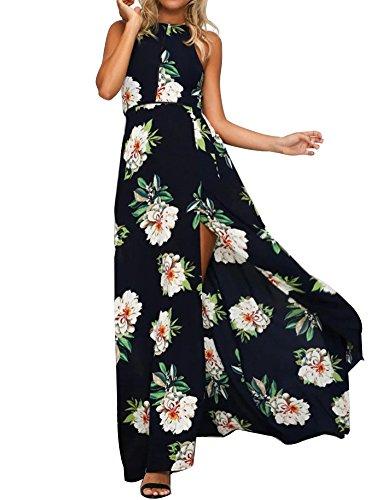 TEMOFON Womens Floral Maxi Sexy Halter Split Chiffon Dress Sleeveless Backless Summer Boho Party Beach Dresses (S-XL)