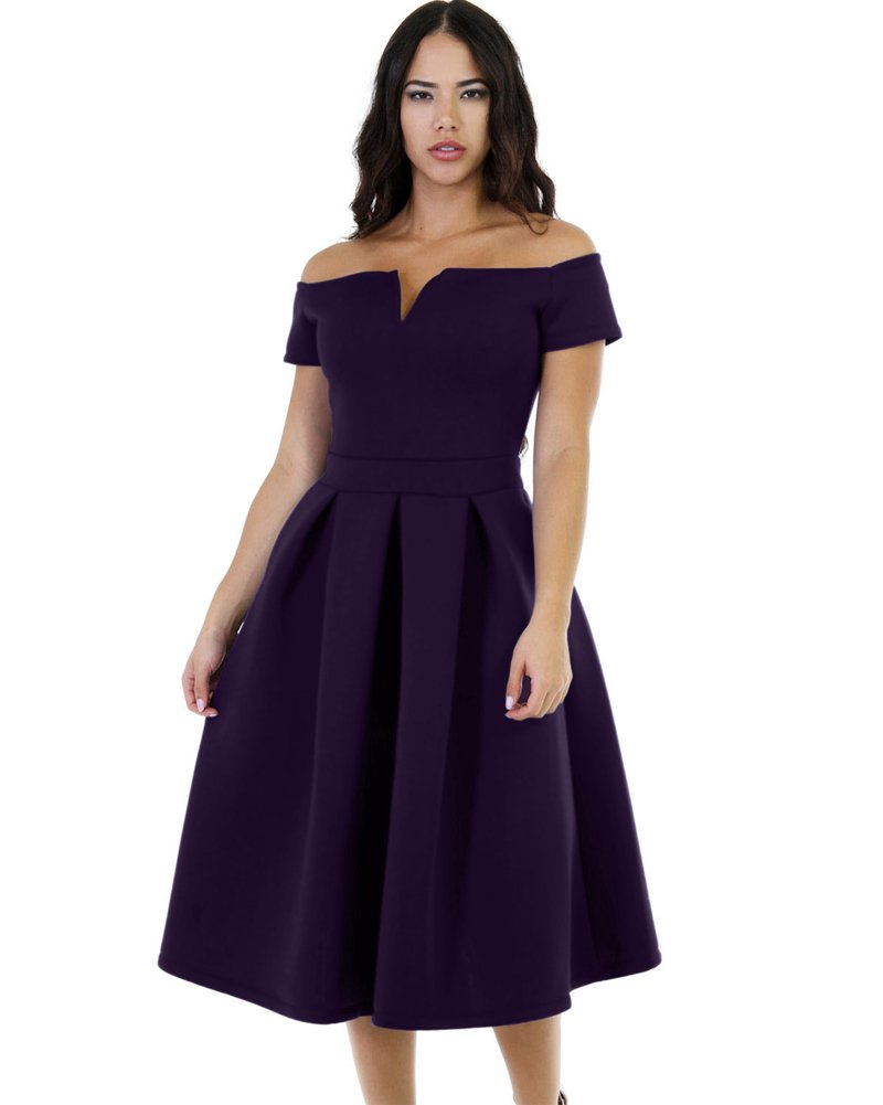 Lalagen Women's Vintage 1950s Party Cocktail Wedding Swing Midi Dress LLGEA61228