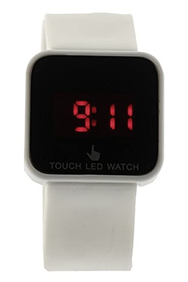 Reloj de mujer - SODIAL(R)Colorido unisexo LED Digital pantalla tactil Reloj de pulsera de silicona Blanco: Amazon.es: Relojes