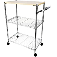 3-Tier Stand Workstation Rolling Kitchen Trolley Cart