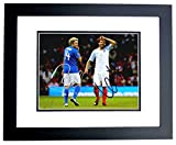 Niall Horan and Louis Tomlinson Signed - Autographed 1D One Direction Soccer 8x10 Photo BLACK CUSTOM Frame - Guaranteed to pass PSA or JSA -