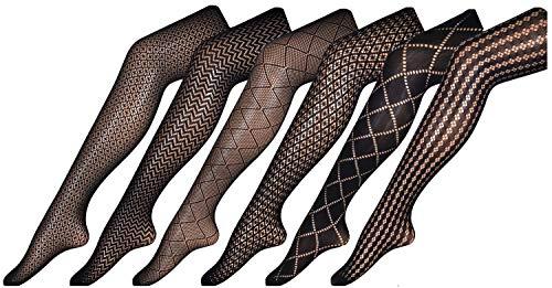 - CHIRRUPY CHIEF Women Fishnet Tights Patterned Fishnets Stockings Small Hole L XL XXL (XL, BlackX6-1)