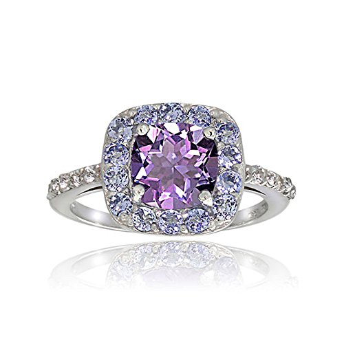 Romantic Fate High-end Fashion Square Shape Purple Zircon Studded Deluxe Women Ring Gift 9# ()
