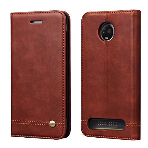 Moto Z3 Play Case,Moto Z3 Case,RUIHUI Leather Wallet Folding Flip Slim Protective Case Shell Cover with Card Slots,Kickstand Feature and Magnetic Closure for Motorola Moto Z Play 3nd Gen 2018(Brown)