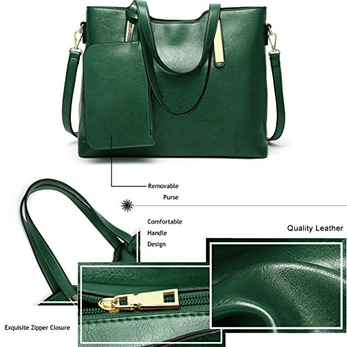 Tote Designer Bag Shoulder PU Green Handbags Aburnudrey Handbags Leather Ladies Womens pFzznRH