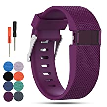 Fitbit Charge HR Replacement Wristband, Feskio Classic Soft Silicone Metal Clasp Watch Buckle Wrist Strap Watch Band Holder Case Pouch for Fitbit Charge HR (Small or Large Size Available)