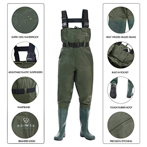 7dcda04ca46f1 ... FISHINGSIR Chest Fishing Waders Hunting Bootfoot with Wading Belt  Waterproof Insulated Breathable Nylon and PVC Cleated ...