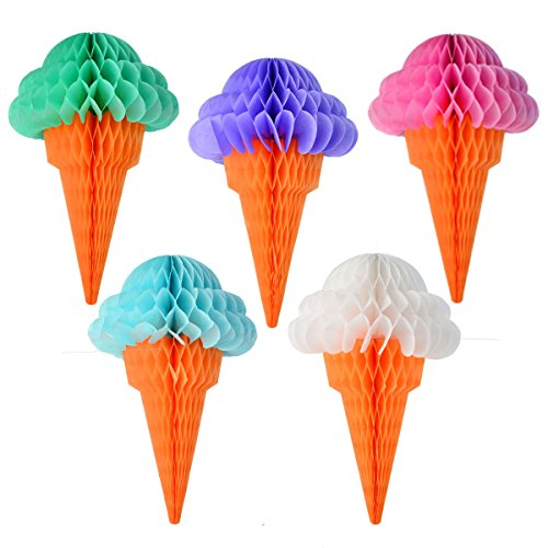 Miayon 10PCS Ice Cream Tissue Paper Party Hanging Ice Cream Honeycomb Decorations for Wedding Birthday(Multicolor 12.5