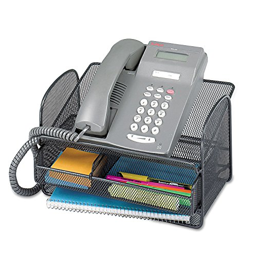 Right Pedestal Steel Desk - Safco Onyx Angled Mesh Steel Telephone Stand, Black