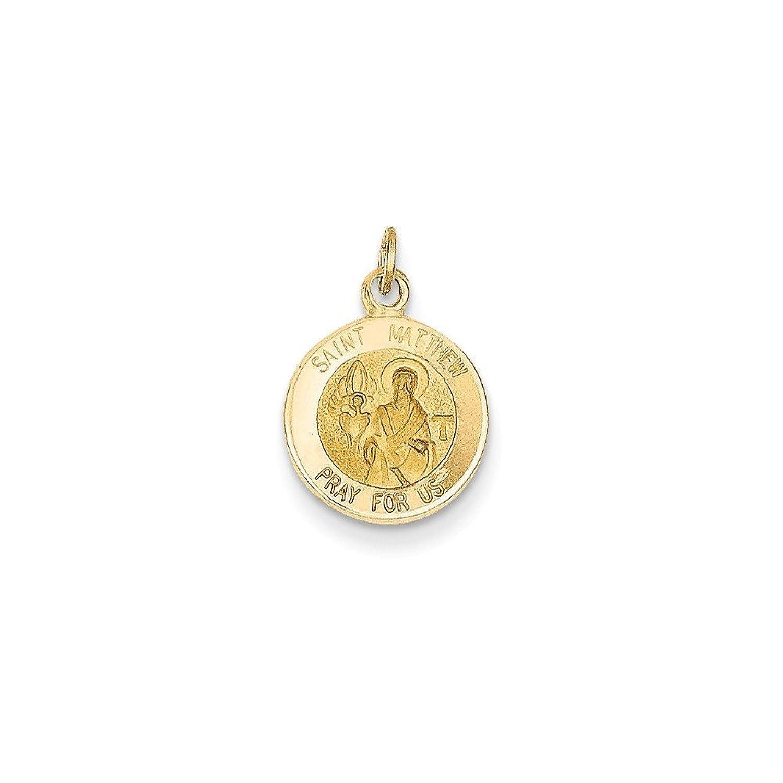 14k Gold Saint Matthew Medal Charm Pendant (0.75 in x 0.47 in)