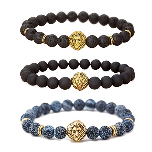 [MIKINI Jewelry Lava Rock Matte Agate Natural Onyx Stone Mens Bracelets, Alloy Lion Head, Pack of 3 (Gold Lion Head)] (Alloy Matte)
