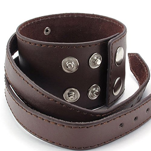 TEMEGO Jewelry Wide Genuine Leather Bullet Bracelet Adjustable Fits 7.5-8.5 Punk Rock