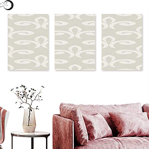 J Chief Sky Geometric Home Decor Damask Pattern in Soft Colored Design Ethnic and Oriental Inspirations Ornate Shapes Triptych Photo Frame Beige Triptych Art Canvas W 24