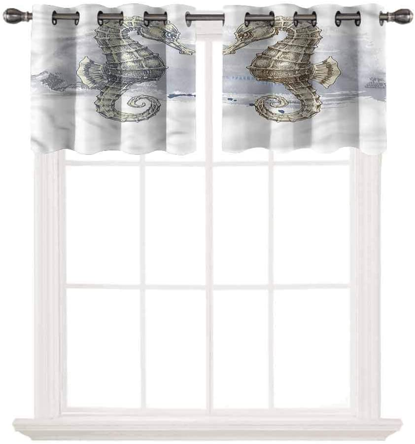 SoSung 3D Printed Window Cafe Bedroom Bathroom Valance,Animal,Seahorse Lovers Artsy,for Kitchen Living Decor with Grommet Tier,W42 by L12,2 Panels