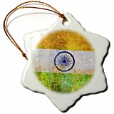 3dRose Andrea Haase Grunge Flag Art - Distressed Style Grunge Flag Of India - 3 inch Snowflake Porcelain Ornament (orn_268073_1)