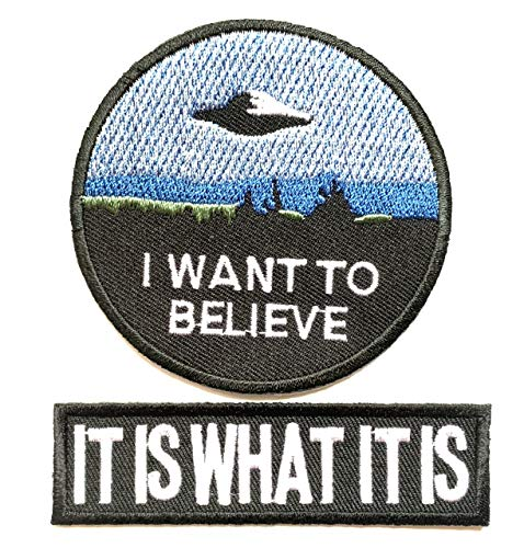 Super Set Patch of Iron on Space Patches#24, I Want to Believe Movie X- Files Patch, It is What it is Patch Embroidered Iron On/Sew On Patch by BossBee