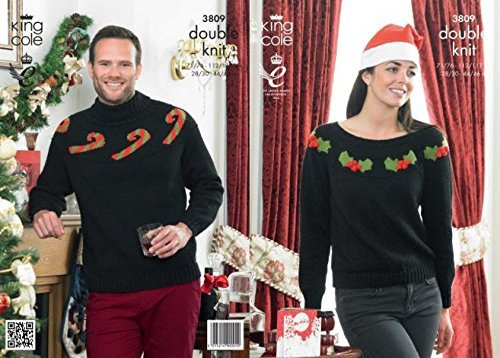 King Cole Ladies/Mens Christmas Sweaters Glitz/DK Knitting Pattern 3809 by King Cole