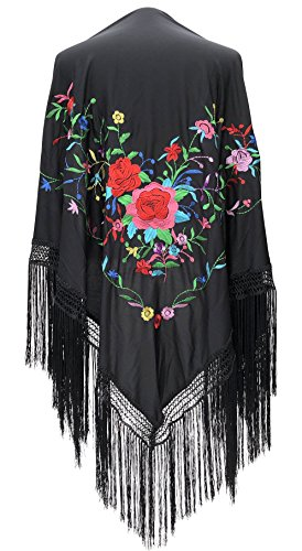 La Senorita Spanish Flamenco Dance Shawl Black with various colored flowers Fringes black size L (Shawl With Fringe)