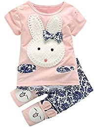 Rabbit Outfits, Toddler Kids Little Girls Cute Easter Bunny Bow Applique T-Shirt Tops+Floral Pants