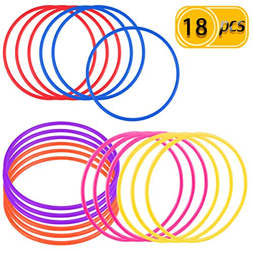 PRALB 18 PCS 18cm Plastic Multicolor Toss Rings Plastic Toss Rings for Speed and Agility Practice Games, Carnival, Garden, Backyard, Outdoor Games -