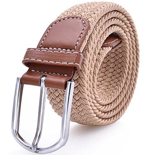 Mens Stretch Belt Elastic Fabric Braided Woven Web Canvas Women Leather Unisex Cotton Multicolored Belt Khaki (Ladies Canvas Belts)
