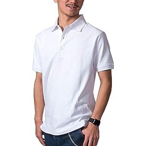 (Richard&Neil) 鹿の子 ポロシャツ メンズ 無地 吸汗速乾 消臭機能付 単品 ホワイト 4L