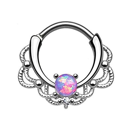 16ga Septum Piercing Clicker - Lacey Single Opalite and Clear CZ Gem (Purple Opalite) by BodyJewelryOnline