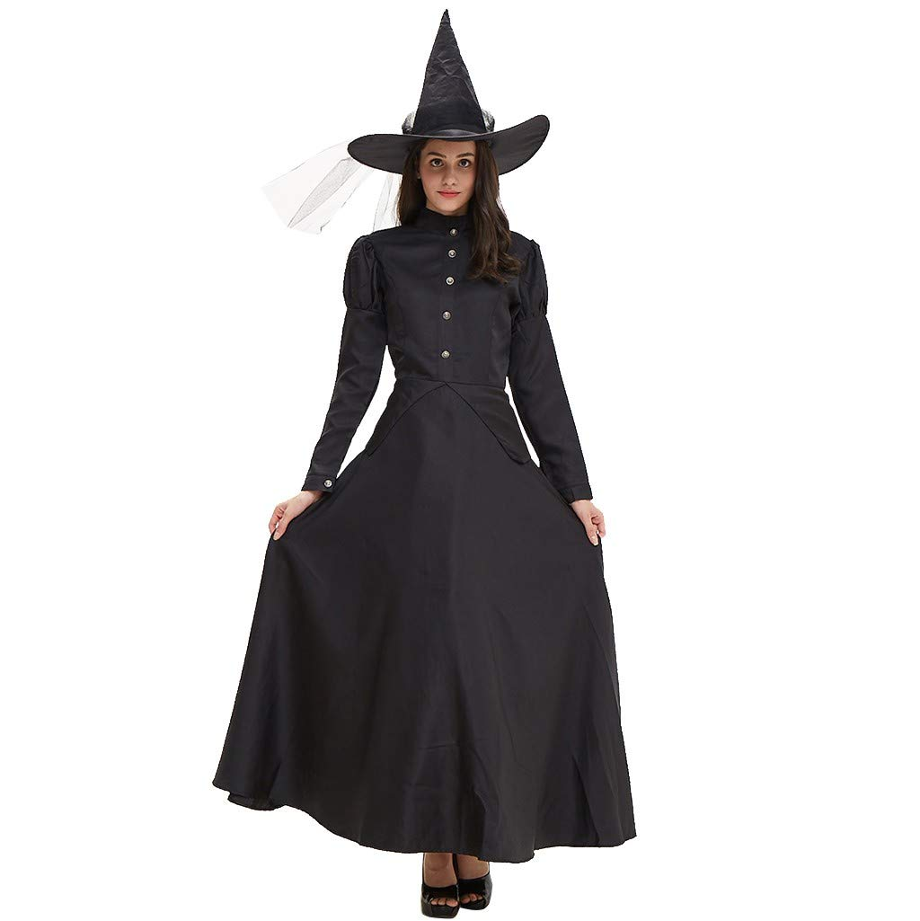Chirpa Halloween Costume, Halloween Women Witch Cosplay Dance Party Long Sleeve Dress+Hat Clothes Set Suit Black by Chirpa