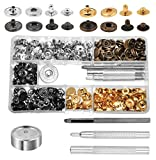 Mandala Crafts Bulk Jeans Leather Garment Tubular Metal Snap Fastener Button Set with Stud Rivet Setter Kit Tool Box (12.5mm, Gold Silver Antique Bronze Gunmetal Snap Buttons)