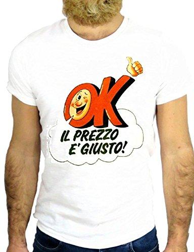 T SHIRT JODE Z2729 OK IL PREZZO è GIUSTO LOGO VINTAGE TV ITALIAN GGG24 BIANCA - WHITE XL