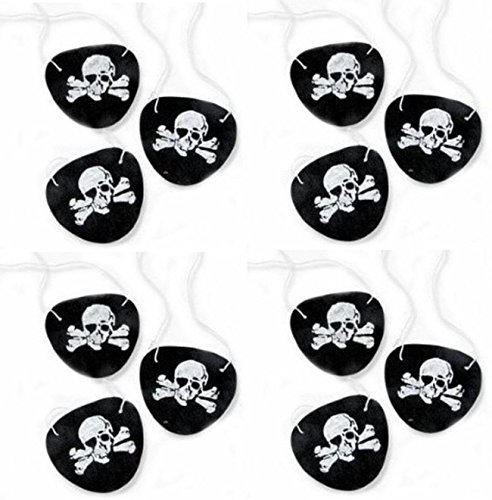 Black Felt Pirate Captain Eye Patches Skull Crossbones for Children Party Favors and Costume Prop (24 (Plastic Eye Patch)