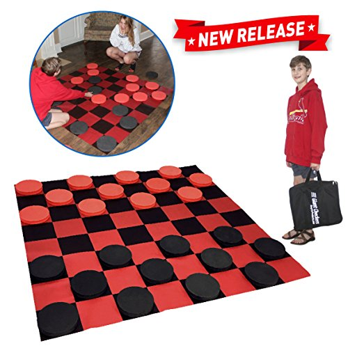 EasyGo Giant Checkers Game - Indoor Outdoor - Family Game - Lawn Game - 5 Feet X 5 ()