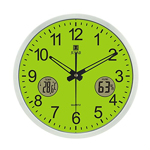Imoerjia Creative with Rmometer Hygrometer Graphics in Seconds Silence Round Living Room Office Quartz Clocks Wall Clock, 12 Inch, Green Side - Brushed Aluminum Foil Box