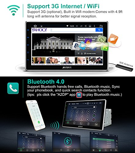"""10.1"""" Android 7.1 2GB 32GB Double Din Car Stereo Radio with Bluetooth, GPS Navigation - Support Fastboot, 3G WIFI, USB SD, MirrorLink, Backup camera, AUX, Subwoofer, OBD2, DVR by PUMPKIN (Image #4)"""