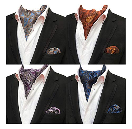 (Mens 4 Pcs Paisley Cravat Party Ascot Scarf Ties Neckties Pocket Square Set of 4)